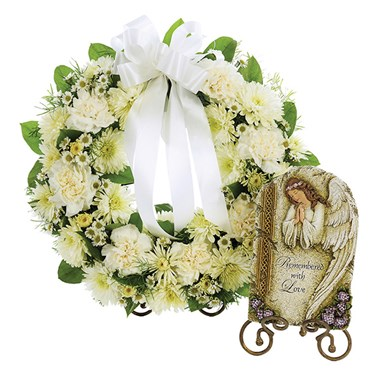 Small Open Round Tabletop Wreath with Remembered Plaque - All White (BF326-11KSP)